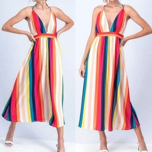 1 left! New Spring Time Chiffon Striped Maxi Dress